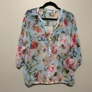 NY&Co floral light blue blouse